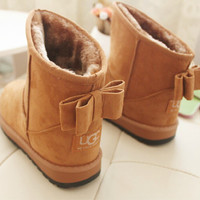 2015 Brand Women Snow Boots Cute Bow Winter Ankle Boot Australian Warm Fur Shoes Woman Heels Botas Mujer Bottes Femme Classic