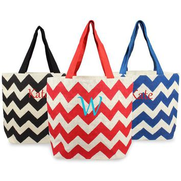 Personalized Blue Chevron Parchment Jute Tote Bag