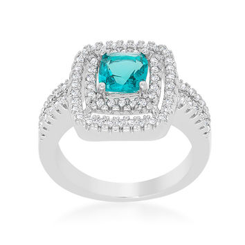 Brida Aqua Blue Cushion Cut Double Halo Cocktail 5.5 Carat  Cubic Zirconia Ring.