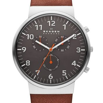 Skagen 'Ancher' Round Chronograph Leather Strap Watch, 40mm - Brown/ Grey