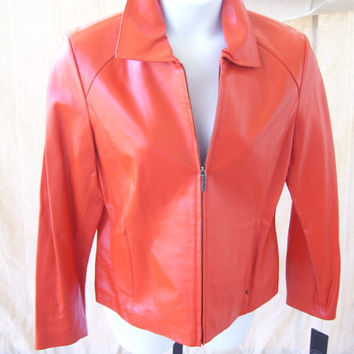 Sale Additional 25% Off Women's Leather Jacket // Coat Size Large // Size Medium  By Rivet Logo Burnt Orange Steampunk Mad Men