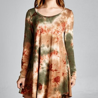 Tie Dye Tunic Dress - Olive/Camel