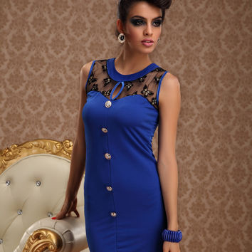 Blue Butterfly Mesh Print Sleeveless Bodycon Mini Dress With Front Button