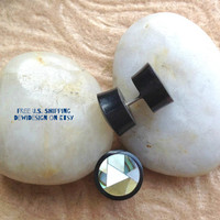 "Fake Gauge, Faux Plugs, ""Mosaic"" Mother of Pearl, Abalone, Horn, Natural, Handcrafted, Tribal"