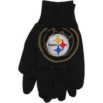 Pittsburg Steelers with Raised Team Logo Licensed NFL Sport Utility Gloves-New!