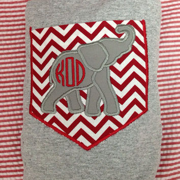 Personalized Gray or Black Long Sleeve Adult Alabama Pocket tshirt/chevron pocket/ elephant applique/monogram