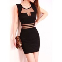 Black Mesh Panel Sleeveless Dress