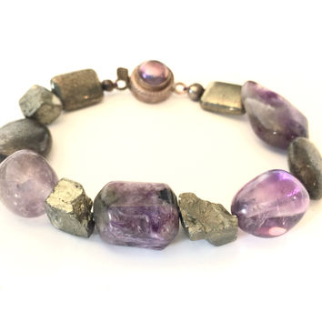 "7.25"" Amethyst, Sugilite and Pyrite Bracelet with Sterling Silver Clasp"
