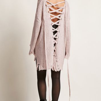 Frayed Lace-Up Top