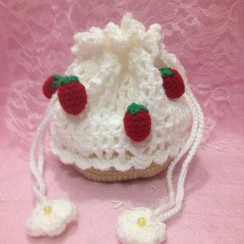 Strawberry Crochet Bag Purse Cosmetic Pouch Strawberry Cupcake Drawstring Bag Strawberry Bag Kawaii Accessory Amigurumi Strawberry Gift Idea