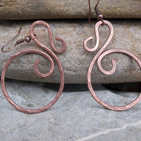 Wire wrapped earrings / wire wrapped jewelry handmade / Hoop earrings / copper jewelry / earthy jewelry Wire jewelry / Spiral earrings