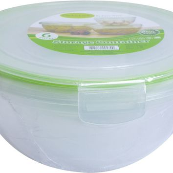 6 Piece Plastic Container w-Click & Lock Lids Set - CASE OF 6