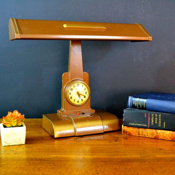 WORKING Vintage Litemaster Desk Lamp Clock, Art Specialty Co Chicago, Executive Desk Lamp, Art Deco Lighting