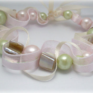 Elegant pale pink and mint bead and ribbon bracelet. Mother of Pearl beads. Ships free.