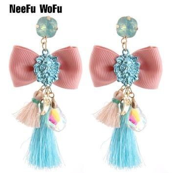 NeeFu WoFu Lion head Earrings Big Earring Peace Large Tie Tassel Earrings For Women Resin Brincos Brand earrings Jewelry