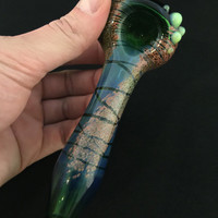 Green Glass Color Splash and Wrap Tobacco Spoon Pipe with Slyme Accents