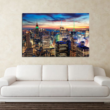 "Canvas Print Artwork Stretched Gallery Wrapped Wall Art Painting New York Night City Town America Large Size 28x43"" (can10)"