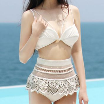 White lace sexy off shoulder two piece bikini high waist swimsuit