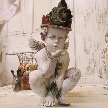 White cherub statue hand made crown adorned with jewelry French inspired ooak home decor Anita Spero