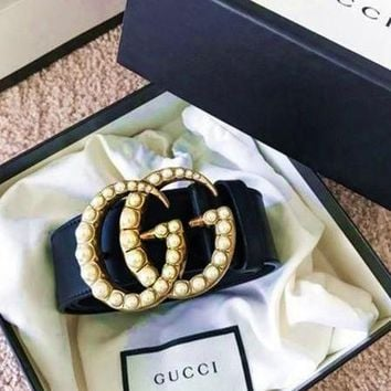 GUCCI pearl Woman Fashion Smooth Buckle Belt Leather Belt + pearl