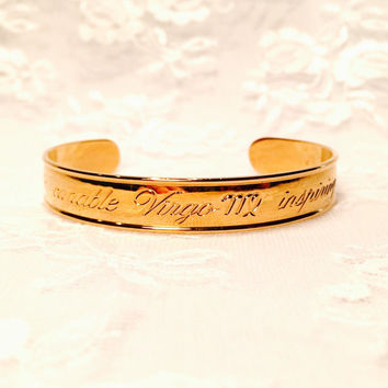 Vintage Avon Zodiac Virgo Adjustable Gold Cuff Bracelet 1970s Horoscope Birthday Gift