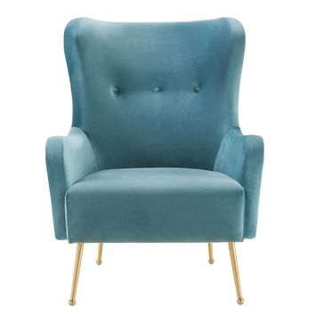 Ethan Sea Blue Velvet Chair