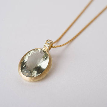 Green amethyst necklace, Pendant necklace,14k gold stone pendant,14k gold wheat necklace, Oval single stone pendant, Diamonds pendant