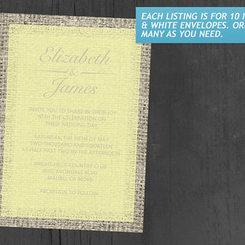 Yellow Vintage Burlap Wedding Invitations | Invites | Invitation Cards