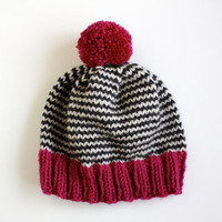 The Stripe-A-Thon Hat in Magenta, Heather Black, & Platinum - MADE TO ORDER