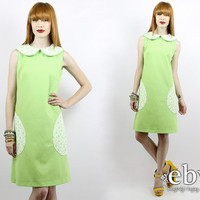 Vintage 60s Mod Dress Lime Green Summer Dress S M Vintage Sundress Day Dress Lime Green Dress 70s Sundress Peter Pan Collar Dolly Dress