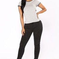 Only If For A Night Denim Joggers - Black