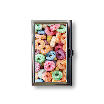 Loops of Fruit Cereal Business Card Case Hard Case Fits Business Credit Debit Key Cards and Standard Gift Cards