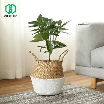 WHISM Seagrass Wicker Rattan Laundry Storage Basket Woven Folding Handmade Flowerpot Planter Clothes Toys Holder Organization