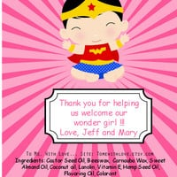 20 Superhero Baby shower Lipbalm Favors - custom color & flavor, personalized lipbalm, wonderwoman baby shower, super hero baby shower,  A29