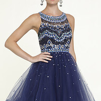 Short High Neck Babydoll Dress by Mori Lee