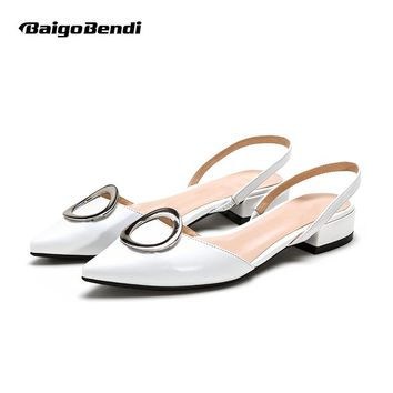 New Real Leather Pointy Toe Shallow Mouth Ankle Strap Sandal Women Low Heel Summer Heels