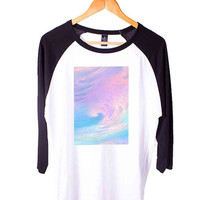 Pastel Short Sleeve Raglan - White Red - White Blue - White Black XS, S, M, L, XL, AND 2XL*AD*