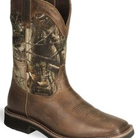 Justin Stampede Camo Waterproof Pull-On Work Boots - Sheplers