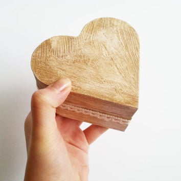 Patinated heart shaped wedding rings box, rustic looking old vintage rustic wedding looks like old