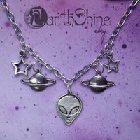 Alien planets necklace by lotusfairy on Etsy