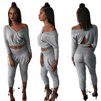 Gray V Neck Cut-Out Detail Top Harem Pants Suit