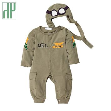 Baby Rompers one-piece pilot baby clothes newborn boy girls jumpsuit funny baby rompers long sleeve cottons two piece outfits