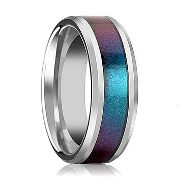 Tungsten Blue Purple Color Changing Inlay - Tungsten Wedding Band - Polished Finish - 4mm - 6mm - 8mm - 10mm - Tungsten Wedding Ring
