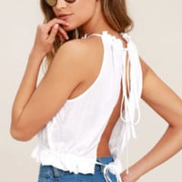 Solid Color Sleeveless Backless T-Shirt