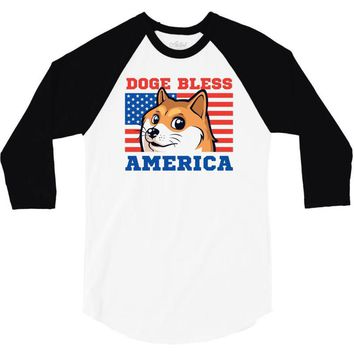 doge bless america 3/4 Sleeve Shirt