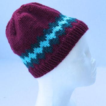 Knit Hat - Children Hat - Dark Raspberry with Teal Accents