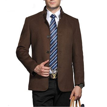 Business Casual Men's Woolen Coats Single Breasted Men Wool Jackets and Coats Overcoat Wool Clothing