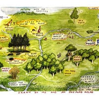 Map of the Hundred Acre Woods Winnie The Pooh by HometownCreations