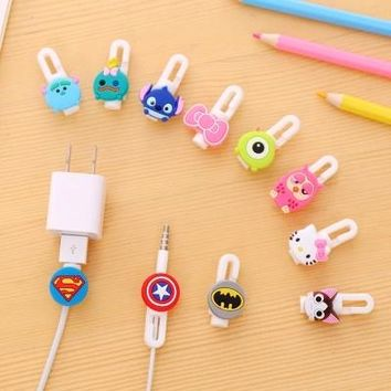 Selectable 2pcs Cartoon USB Cable Earphone Protector Headphones Line Saver For Mobile Phone Charging Line Data Cable Protection