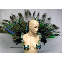 Neon Peacock Feather Samba Backpack Wings Dance Costume Rave Halloween Burlesque Show Girl